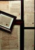 Books:Manuscripts, [Manuscripts]. Group of Five 17th-18th Century Legal Manuscripts,Framed. Including:... (Total: 5 )