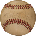 Baseball Collectibles:Balls, 1930's Babe Ruth Single Signed Baseball, PSA/DNA VG-EX 4....