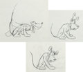 Animation Art:Production Drawing, Pluto Animation Rough Drawing Group (Walt Disney, c. 1930s)....(Total: 3 Items)