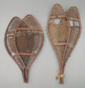 American Indian Art:Wood Sculpture, TWO PAIRS OF CREE WOOD AND HIDE SNOW SHOES... (Total: 2 Items)