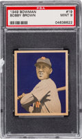 Baseball Cards:Singles (1940-1949), 1949 Bowman Bobby Brown #19 PSA Mint 9 - Pop Three, One Higher....