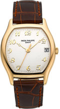 Timepieces:Wristwatch, Patek Philippe Ref. 5030 Gondolo Tonneau Yellow Gold Wristwatch, circa 1998. ...
