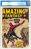 Silver Age (1956-1969):Superhero, Amazing Fantasy #15 (Marvel, 1962) CGC FR/GD 1.5 Cream to off-whitepages....