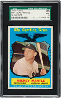 Baseball Cards:Singles (1950-1959), 1959 Topps Mickey Mantle All-Star #564 SGC 96 Mint 9 - Finest SGCExample! ...