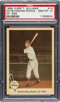 Baseball Cards:Singles (1950-1959), 1959 Fleer Ted Williams - Outstanding Rookie of 1939 #14 PSAGem MT 10 - Pop Four. ...