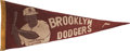 Baseball Collectibles:Others, Late 1940's Jackie Robinson Brooklyn Dodgers Pennant....