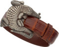 "Luxury Accessories:Accessories, Kieselstein Cord Brown Alligator Belt & Sterling Silver Alligator Buckle. Excellent Condition . 1.5"" Width x 34"" Lengt..."
