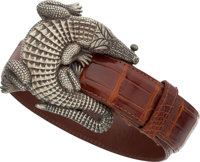 Kieselstein Cord Brown Alligator Belt & Sterling Silver Alligator Buckle Excellent Condition 1.5