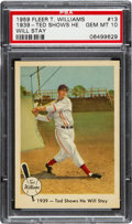 Baseball Cards:Singles (1950-1959), 1959 Fleer Ted Williams - 1939 - Ted Shows He Will Stay #13PSA Gem MT 10 - Pop Four. ...