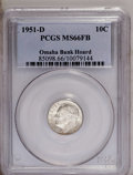 Roosevelt Dimes, 1951-D 10C MS66 Full Bands PCGS. Ex: Omaha Bank Hoard. PCGS Population (257/41). Mintage: 56,529,000. ...