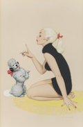 Pin-up and Glamour Art, ARCHIE DICKENS (American, 20th Century). A Girl and HerPoodle. Airbrush on board. 7.25 x 4.75 in. (sight). Signedlower...