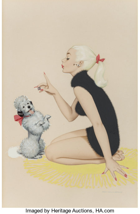 ARCHIE DICKENS (American, 20th Century) A Girl and Her Poodle Airbrush on board 7.25 x 4.75 in. (sight) Signed lower...