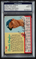 Baseball Cards:Singles (1960-1969), Signed 1962 Post Cereal Sandy Koufax PSA/DNA Mint 9....