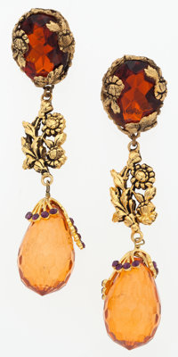 "Ungaro Gold, Amber Glass & Purple Crystal Floral Earrings Good Condition 1"" Width x 4.5"" Height</..."