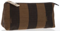 Luxury Accessories:Accessories, Fendi Set of Two; Brown Canvas Sequin Stripe Pouch & BrownEmbossed Lizard Leather Address Book. Very Good Condition....