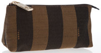 Fendi Set of Two; Brown Canvas Sequin Stripe Pouch & Brown Embossed Lizard Leather Address Book Very Good Condi