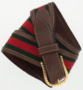"Luxury Accessories:Accessories, Gucci Brown Leather & Canvas Webstripe Belt. GoodCondition. 1.5"" Width x 32"" Length . ..."