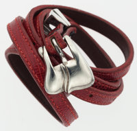 """Kieselstein Cord Red Lizard Belt with Sterling Silver Buckle Good Condition .5"""" Width x 41"""" Lengt"""
