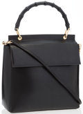 """Luxury Accessories:Accessories, Gucci Black Leather & Bamboo Top Handle Bag with Strap. GoodCondition. 10.5"""" Width x 11"""" Height x 4"""" Depth, 4""""Handle..."""
