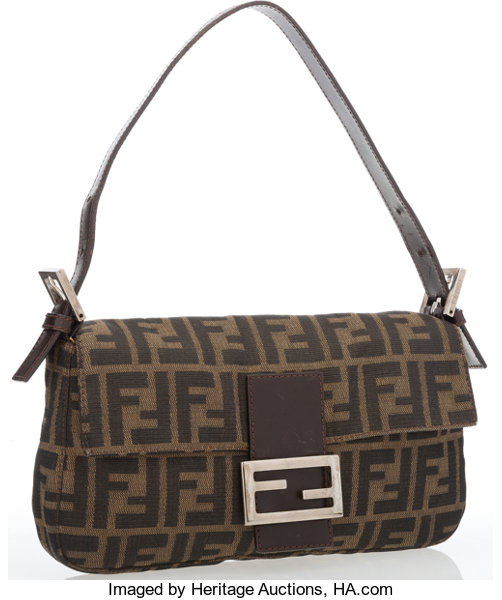 6ec7973bd794 Fendi Classic Monogram Zucca Canvas Baguette Bag. Good Condition ...