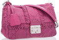 "Luxury Accessories:Accessories, Christian Dior New Lock Magenta Perforated Leather Shoulder Bag.Good to Very Good Condition. 10"" Width x 7"" Height x..."