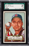 Baseball Cards:Singles (1950-1959), 1952 Topps Del Wilber #383 SGC 96 Mint 9 - Pop One, Finest SGCExample! ...