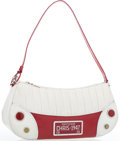 """Luxury Accessories:Accessories, Christian Dior White Perforated & Red Patent Leather MontaigneChris 1947 License Plate Bag. Good Condition. 12""""Width..."""