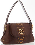 """Luxury Accessories:Accessories, Gucci Brown Python Shoulder Bag With Gold Hardware. Good to Very Good Condition. 13.5"""" Width x 8"""" Height x 2.5"""" Depth,..."""