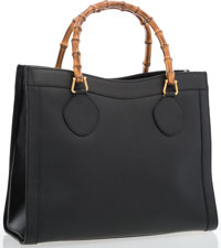 "Gucci Black Leather Tote Bag With Bamboo Handle Very Good Condition 14"" Width x 11"" Height x 6"" D"