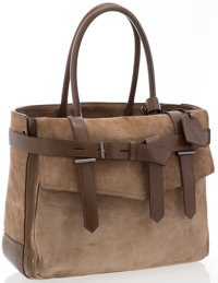 "Reed Krakoff Brown Suede Boxer Tote Bag Very Good to Excellent Condition 14.5"" Width x 11"" Height"