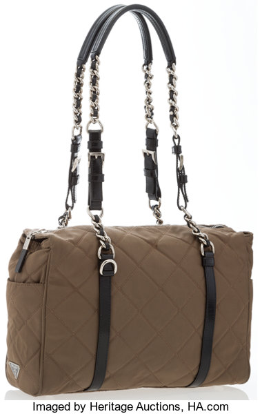 17b0076a0bc84b Very Good toExcellent; Luxury Accessories:Accessories, Prada Green Quilted  Tessuto Canvas Shoulder Bag.