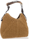 "Luxury Accessories:Accessories, Yves Saint Laurent Tan Woven Hemp Mombasa Horn Hobo Bag. GoodCondition. 13.5"" Width x 8"" Height x .5"" Depth, 6""Handl..."