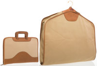 Marley Hodgson Set of Two; Beige Leather & Canvas Portfolio Ghurka and Garment Bag Good Condition