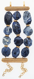 "Luxury Accessories:Accessories, Christian Dior Blue Sodalite Crystal & Gold Bracelet. VeryGood Condition. 3.5"" Width x 7"" Length. ..."