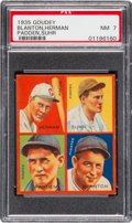 Baseball Cards:Singles (1930-1939), 1935 Goudey 4-In-1 Blanton/Herman/Padden/Suhr PSA NM 7 - Pop Three,None Higher. ...