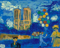 FIKRET MOUALLA (Turkish, 1903-1967) Notre Dame Gouache on paper laid on canvas 19-1/2 x 24 inches