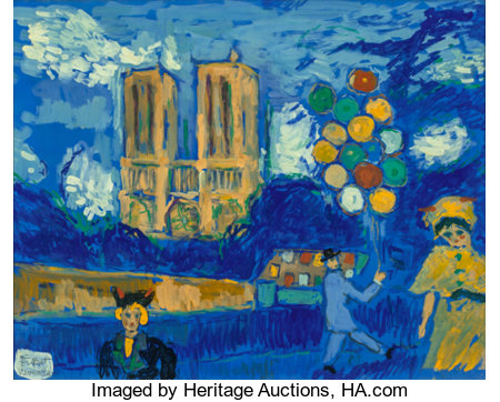 FIKRET MOUALLA (Turkish, 1903-1967) Notre Dame Gouache on paper laid on canvas 19-1/2 x 24 inches (49.5 x 61.0 cm) S...