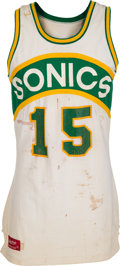 Basketball Collectibles:Uniforms, 1979-81 Vinnie Johnson Game Worn Seattle Supersonics Rookie EraJersey....
