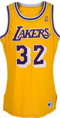 Basketball Collectibles:Uniforms, 1990-91 Magic Johnson Game Worn Los Angeles Lakers Jersey....