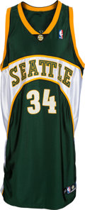 Basketball Collectibles:Uniforms, 2004-05 Ray Allen Game Worn Seattle Supersonics Jersey....