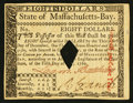 Colonial Notes:Massachusetts, Massachusetts May 5, 1780 $8 About New, COC.. ...