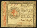 Colonial Notes:Continental Congress Issues, Continental Currency January 14, 1779 $80 Fine.. ...