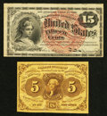 Fractional Currency:First Issue, 5¢ and 15¢ Notes Fine-Very Fine.. ... (Total: 2 notes)