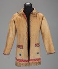 American Indian Art:Beadwork and Quillwork, A RARE SHAWNEE/DELAWARE BEADED HIDE COAT. c. 1850...