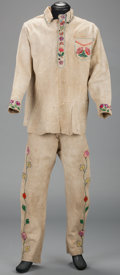American Indian Art:War Shirts/Garments, A PLATEAU BEADED HIDE SHIRT AND TROUSERS. c. 1920...