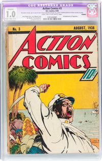 Action Comics #3 Trimmed (DC, 1938) CGC Apparent FR 1.0 Slight to Moderate (C-2) Light tan to off-white pages