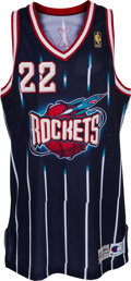 Basketball Collectibles:Uniforms, 1996-97 Clyde Drexler Game Worn Houston Rockets Jersey....