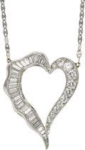 Estate Jewelry:Necklaces, Diamond, Platinum, White Gold Necklace. ...