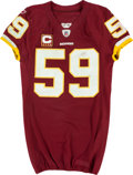 Football Collectibles:Uniforms, 2010 London Fletcher Game Worn, Unwashed Washington Redskins Jersey - Worn 12/12 Vs. Tampa Bay....