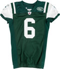 Football Collectibles:Uniforms, 2010 Mark Sanchez Game Worn, Unwashed New York Jets Jersey - Worn 10/11 Vs. Minnesota....